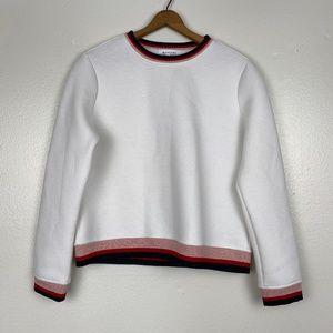 Anthropologie Moelleux Glitter Stripe Hem Sweater